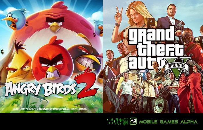 Angry Birds by Rovio Entertainment, Grand Theft Auto by Rockstar Games.